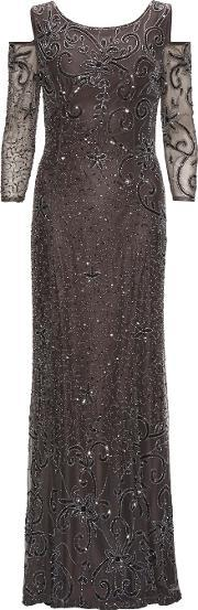 Gina Bacconi , Beaded Maxi Dress With Cutout Shoulder, Grey