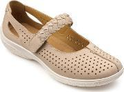 Hotter , Quake Touch Close Court Shoes, Taupe