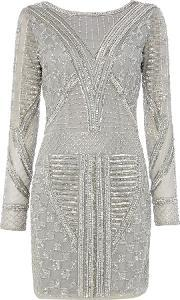 Lace And Beads , Embellished Mini Bodycon Dress, Light Grey