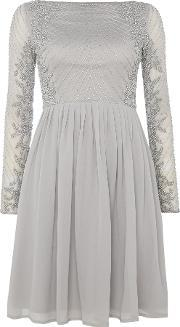 Lace And Beads , Long Sleeve Embellished Fit & Flare Dress, Light Grey