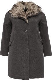 Lost Ink , Curve Swing Coat With Fur Collar, Grey