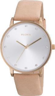 Pilgrim , Classic Gold Plated And Brown Watch, Brown