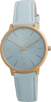 Pilgrim , Minimalistic Gold Plated And Blue Watch, Blue