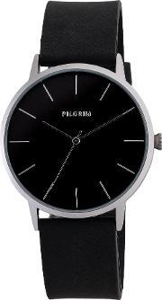 Pilgrim , Pretty Silver Plated And Black Watch, Black