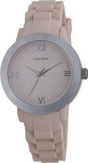 Pilgrim , Pretty Silver Plated And Brown Watch, Brown