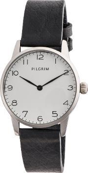 Pilgrim , Silver Plated With White And Black Watch, White