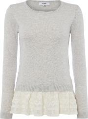 Suncoo , Prisca Long Sleeve Knit With Lace Peplum, Grey