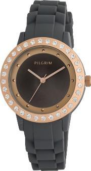 Pilgrim , Grey And Rose Gold Plated Watch, Grey