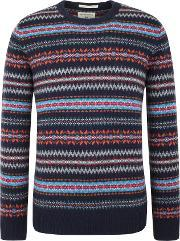 Racing Green , Men's  Douglas V Neck Fairisle Jumper, Navy