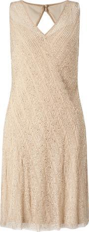 Adrianna Papell , Beaded Cocktail Dress, Yellow