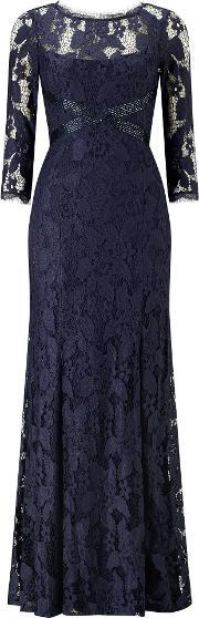 Adrianna Papell , Long Sleeve Lace Evening Dress, Navy