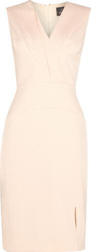 Adrianna Papell , Sleeveless Crepe Shift Dress With Ruffle Bust, Nude