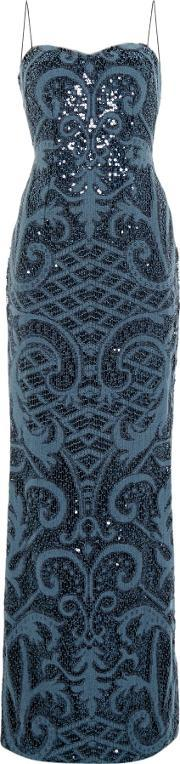 Adrianna Papell , Strapless Knitted Sequin Shift Dress, Blue