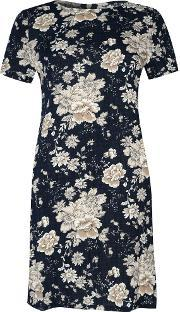 Alice & You , Short Sleeve Printed Dress, Navy