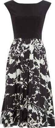 Ariella , Cap Sleeve Dress With Printed Midi Skirt, Black