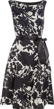 Ariella , Cowl Neck Satin Dress With Tie Belt, Black