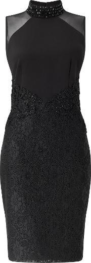 Ariella , Jayla Short Lace Detail Dress, Black