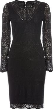 Bardot , Long Sleeved Lace Applique Bodycon Dress, Black