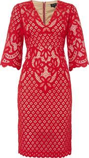 Bardot , Long Sleeved V Neck Bell Sleeve Bodycon Dress, Red