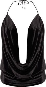 Bardot , Sleeveless Drape Cowl Neck Cami Top, Black