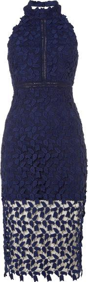 Bardot , Sleeveless Halter Neck Embroidred Pencil Dress, Navy