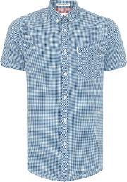 Ben Sherman , Men's  Mini Mod Check Short Sleeve Shirt, Light Blue