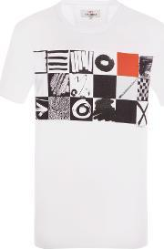 Ben Sherman , Men's  O S And X S Checkerboard Tee, White