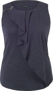 Chesca , Waterfall Front Jacquard Top, Navy