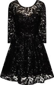 Chi Chi London , Sequin Lace Skater Party Dress, Black