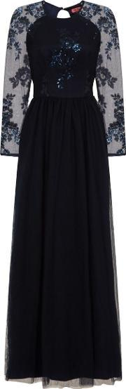 Chi Chi London , Sequinned Maxi Dress, Navy