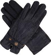 Dents , Ladies Fancy Suede Gloves With Knitted Sidewalls, Navy