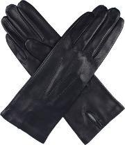 Dents , Ladies Leather Glove With Silk Lining, Navy