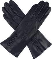 Dents , Ladies Leather Gloves, 4 Bl, With Silk Lining, Navy