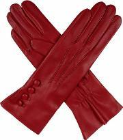 Dents , Ladies Silk Lined Button Detail Leather Glove, Berry