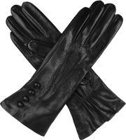 Dents , Ladies Silk Lined Button Detail Leather Glove, Black