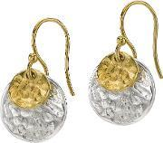 Dower & Hall , Nomad Gold Mix Double Disk Earrings, Na