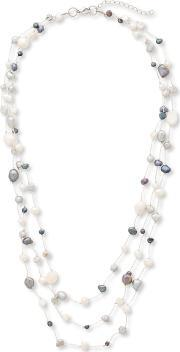 East , Multi Strand Freshwater Pearl Necklace, Multi Coloured