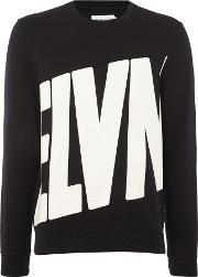 Eleven Paris , Men's  Rinco Logo Print Crew Neck Sweatshirt, Black