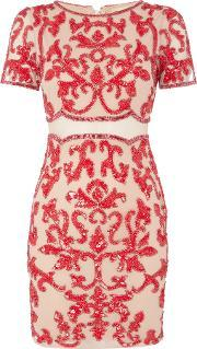 Frock And Frill , Short Sleeved Shift Dress With Embroidery, Red