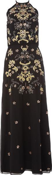 Frock And Frill , Sleeveless All Over Embellished Dress, Black