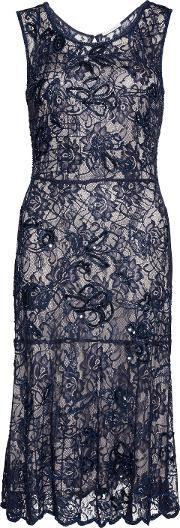 Gina Bacconi , Beaded Lace Dress With Slip, Navy