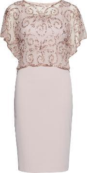 Gina Bacconi , Crepe Dress With Beaded Over Top, Pink