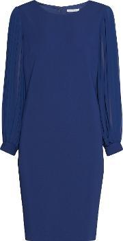 Gina Bacconi , Crepe Dress With Pleated Chiffon Sleeve, Navy