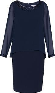 Gina Bacconi , Crepe Dress With Sequin Trim Chiffon Top, Navy