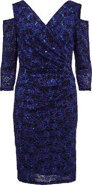 Gina Bacconi , Cutout Shoulder Lace Dress, Blue