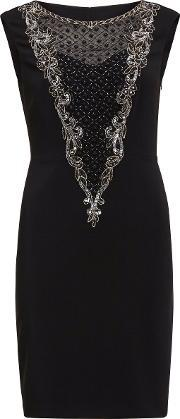 Gina Bacconi , Dress With Beaded Front Panel, Black