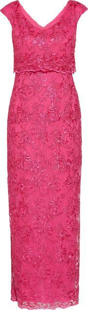 Gina Bacconi , Embroidered Corded Mesh Maxi Dress, Pink