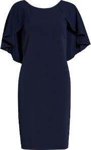 Gina Bacconi , Moss Crepe Dress With Beaded Edge Cape, Navy