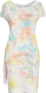 Gina Bacconi , Watercolour Floral Print Dress, Multi Coloured