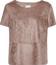 Great Plains , Easily Swaid Faux Suede Top, Brown